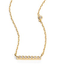 Tai Pave Bar Pendant Necklace Gold