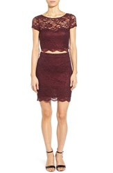 Junior Women's Speechless Two Piece Lace Body Con Dress