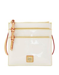 Dooney And Bourke Patent Leather North South Triple Zip Crossbody White