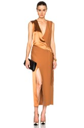 Dion Lee Silk Satin Belted Shell Dress In Metallics Brown