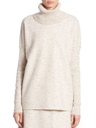Lafayette 148 New York Wool Jersey Turtleneck Sweatshirt Ecru Multi
