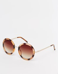 Warehouse Round Retro Sunglasses Brown