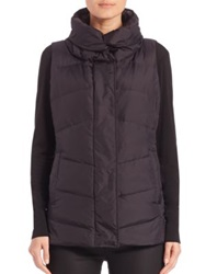 Eileen Fisher High Collar Puffer Vest Black
