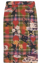 Vivienne Westwood Printed Stretch Cotton Pencil Skirt Red