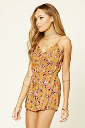 Forever 21 Floral Print Cutout Back Romper Mustard Pink