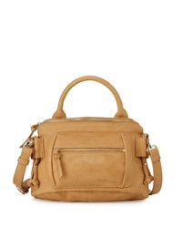 Neiman Marcus Knotted Faux Leather Satchel Bag Tan