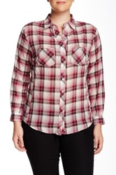 Sandra Ingrish White Burgundy Plaid Shirt Plus Size Red