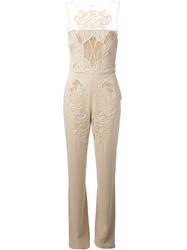 Zuhair Murad Crochet Panel Jumpsuit Nude And Neutrals