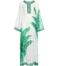 Dolce And Gabbana Printed Cotton Silk Kaftan White