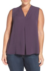 Sejour Plus Size Women's Pleat Front V Neck Shell Purple Night