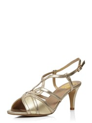 Evans Extra Wide Fit Gold Heeled Sandal Gold Metallic