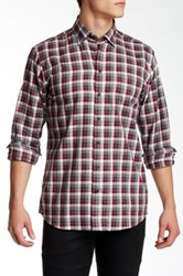Toscano Red Grey Check Regular Fit Shirt