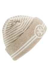 Women's Tory Burch Reversible Knit Beanie Beige Oatmeal Multi