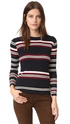 Chinti And Parker Rib Striped Sweater Navy