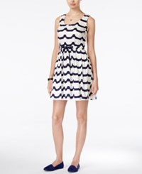 Maison Jules Wave Print Fit And Flare Dress Only At Macy's Marshmellow Combo
