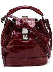 Giorgio Armani Embossed Crocodile Effect Tote Red