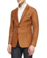Berluti Lightweight Leather Two Button Blazer Cognac Red