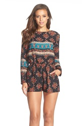 Fraiche By J Print Long Sleeve Romper Wild Flower