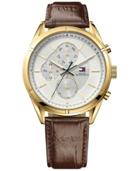 Tommy Hilfiger Men's Brown Leather Strap Watch 44Mm 1791127