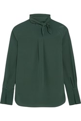 Chloe Pussy Bow Silk Crepe De Chine Blouse Forest Green