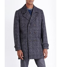 Ted Baker Watts Checked Double Breasted Wool Blend Coat Charcoal