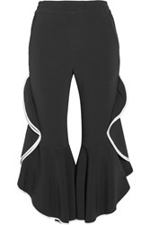 Jonathan Simkhai Cropped Ruffled Crepe Flared Pants Black