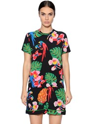 Valentino Tropical Printed Silk Crepe De Chine Top