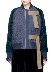 Sacai Calligraphy Embroidered Velvet Sleeve Quilted Bomber Jacket Blue