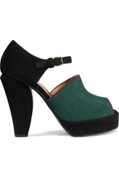 Marni Color Block Suede Sandals Emerald