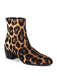 Giuseppe Zanotti Leather Leopard Ankle Boots Natural