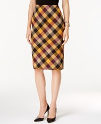 Grace Elements Plaid Pencil Skirt Burgundy Inca Gold Combo
