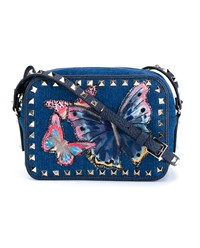 Valentino Butterfly Embroidered Denim Rockstud Bag Blue Denim Multi Coloured