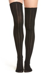 Urban Outfitters Women's Free People 'All For One' Pointelle Knit Over The Knee Socks Black