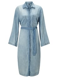 St Studio Kimono Sleeve Shirt Dress Medium Blue