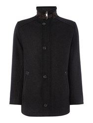Bugatti Wool Coat With Quilted Lining Charcoal