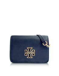 Tory Burch Britten Combo Pebbled Leather Crossbody Bag Navy