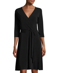 Leota 3 4 Sleeve Solid Perfect Wrap Dress Black