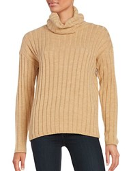 Lord And Taylor Petite Merino Wool Ribbed Turtleneck Sweater Classic Camel Heather