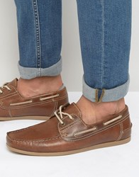 Red Tape Boat Shoes In Leather Tan