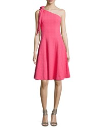 Nanette Lepore One Shoulder Bow Textured Fit And Flare Dress Women's Azalea