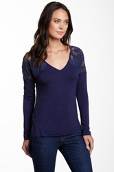 Fate Lace Contrast V Neck Dolman Tee