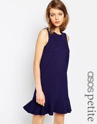 Asos Petite Ponte Peplum Hem Dress Navy