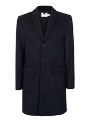 Topman Blue Teal Wool Rich Overcoat