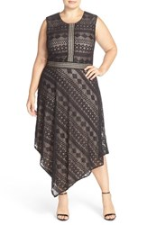 London Times Plus Size Women's Geo Stripe Lace Asymmetrical Hem Dress