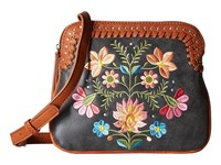 American West Maya 2 Compartment Crossbody Charcoal Terracotta Cross Body Handbags Black