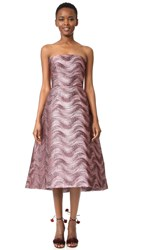 Monique Lhuillier Strapless Midi Dress Blush