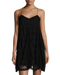 On The Road Lace And Mesh Sleeveless Dress Black