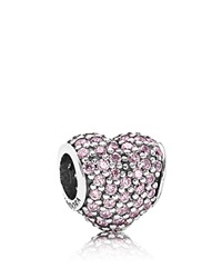 Pandora Design Pandora Charm Sterling Silver And Pink Cubic Zirconia Pave Hearts Moments Collection Silver Pink