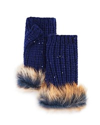 Ugg Australia Lurex Crochet Gloves With Shearling Sheepskin Cuff Indigo