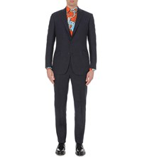 Richard James Slub Wool And Alpaca Blend Suit Navy